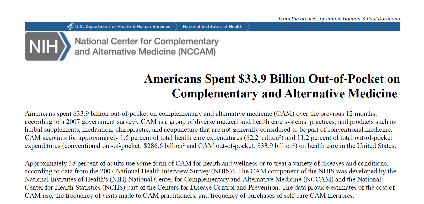 Americans Spent $33.9 Billion Out-of-Pocket on Complementary and Alternative Medicine